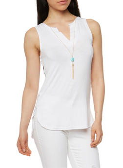 Sleeveless V Neck Top with Necklace - WHITE - 1301038347117