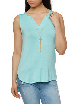 Sleeveless V Neck Top with Necklace - 1301038347117