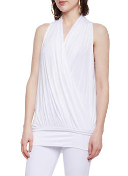Sleeveless Faux Wrap Front Tunic Top with Back Keyhole - WHITE - 1301038347118