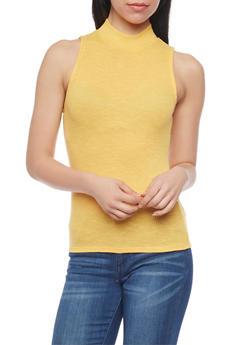 Sleeveless Rib Knit Mockneck Top - MUSTARD - 1301054265820