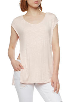 Space Dye Tunic Top with Side Slits - 1301054268315