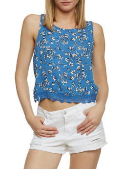 Sleeveless Floral Crop Top with Crochet Trim - 1301054268804