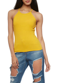 Rib Knit Halter Neck Tank Top - 1301054269319