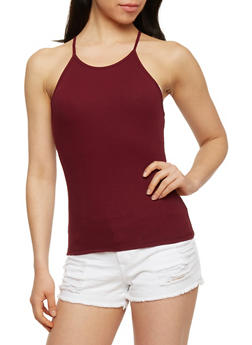 Rib Knit Halter Neck Tank Top - BURGUNDY - 1301054269319