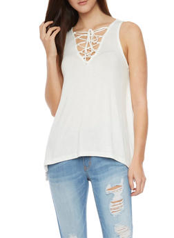 Sleeveless Sharkbite Top with Lace Up V Neck - 1301054269490