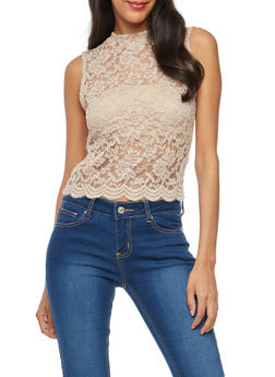 Lace Scalloped Hem Crop Top - 1301054269505