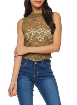 Lace Scalloped Hem Crop Top - OLIVE - 1301054269505