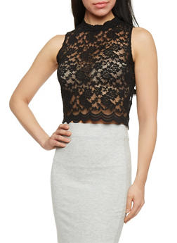 Lace Scallop Hem Crop Top - 1301054269506