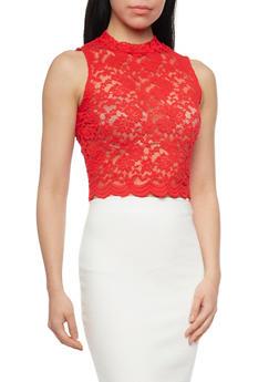 Lace Scallop Hem Crop Top - 1301054269506