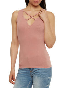 Caged Keyhole Neck Tank Top - 1301054269621