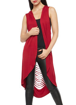 Slashed Back Hooded Duster - 1301058750187