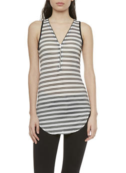 Striped Ribbed Tunic Top with Zipper Neckline - 1301058754031