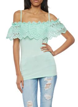 Off The Shoulder Top with Lace Overlay - 1301058755720