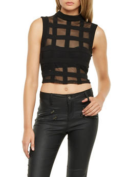 Mesh Crop Top with Mockneck and Plaid Shadow Stripes - 1301058755973