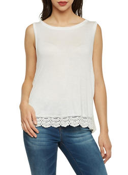 Vented Tank Top with Crochet Trim - 1301058756202