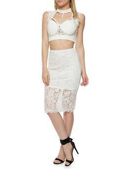 Caged Lace Crop Top and Pencil Skirt Set - OFF WHITE - 1301058756734