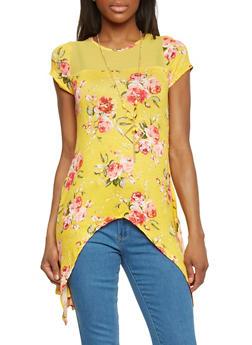Floral Print Sharkbite Hem T Shirt with Mesh Yoke - 1301058756759