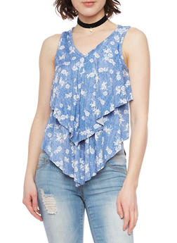 Tiered Sleeveless Floral Print Tank Top - 1301058756762