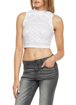 Studded Crop Top with Mock Neck - WHITE - 1301058756786