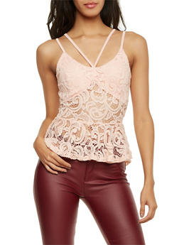 Caged Front Lace Tank Top with Peplum Paneling - 1301058756791