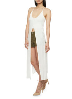 Sleeveless Multi Slit Maxi Top with Cropped Lining - 1301058756958