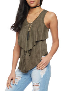Tiered Faux Suede Sleevless Top with Choker Necklace - OLIVE - 1301058757231
