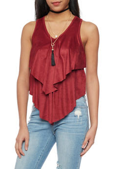 Tiered Faux Suede Sleevless Top with Choker Necklace - BURGUNDY - 1301058757231