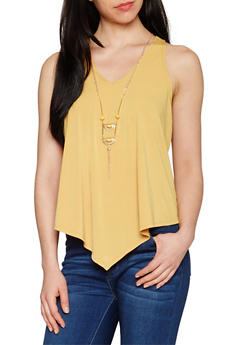 Flowy Sleeveless V Neck Top with Necklace - MUSTARD - 1301058757773