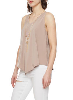 Flowy Sleeveless V Neck Top with Necklace - 1301058757773