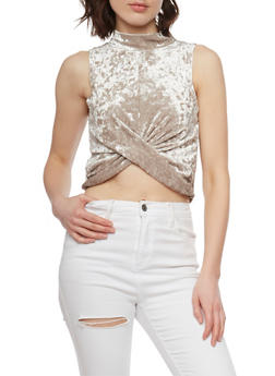 Crushed Velvet Faux Wrap Front Crop Top - 1301058757957