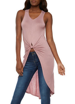 Sleeveless Tie Front High Low Maxi Top - MAUVE - 1301058758839