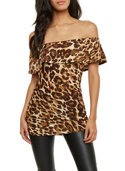 Off the Shoulder Top in Leopard Print - 1301067330043