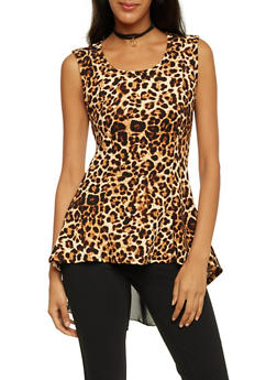 Leopard Print Top with Scoop Neck and Necklace - 1301067331203