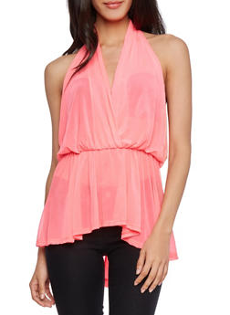 Plunging Halter Top with High Low Hem and Sheer Mesh - 1301067331228