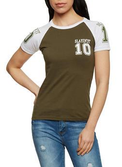Slayin It Graphic Raglan T Shirt - OLIVE - 1302033870018