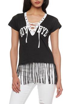 Short Sleeve Lace Up V Neck Boy Bye T Shirt with Fringe Hem - BLACK - 1302033871001