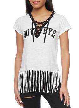 Short Sleeve Lace Up V Neck Boy Bye T Shirt with Fringe Hem - WHITE - 1302033871001