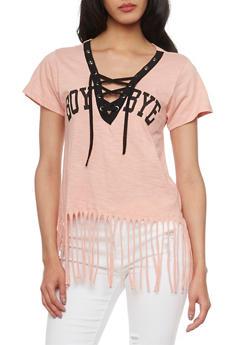 Short Sleeve Lace Up V Neck Boy Bye T Shirt with Fringe Hem - MAUVE - 1302033871001