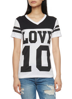 Graphic Color Block T Shirt with Varsity Stripe Details - 1302033871072
