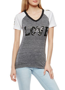 Sequined Graphic Tee - 1302033871369