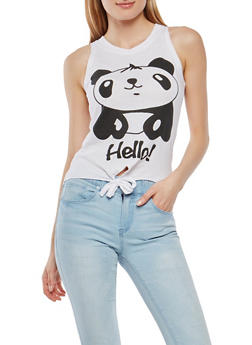 Panda Graphic Tie Front Tank Top - 1302033871653