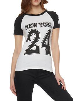 Color Block New York Print T Shirt - 1302033872441