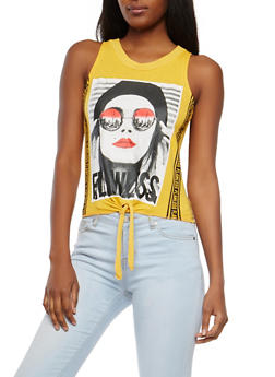 Flawless Graphic Tie Front Top - 1302033874022