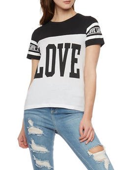 Love Graphic Color Block T Shirt - 1302033876150