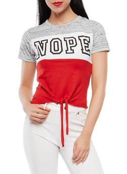 Nope Graphic Tie Front Tee - 1302033876818
