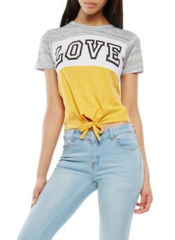 Love Graphic Tie Front Tee - 1302033876819