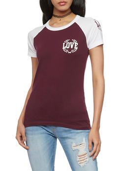 Love Graphic Raglan T Shirt - 1302033877251