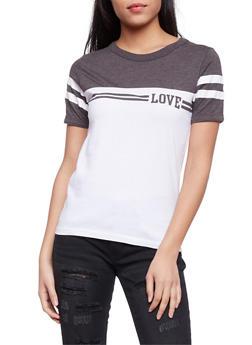 Love Graphic Color Block T Shirt - 1302033877711