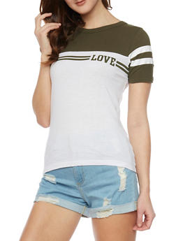Love Graphic Color Block T Shirt - 1302033877711