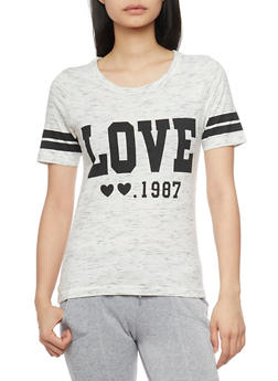 Marled Short Sleeve Love Graphic T Shirt - 1302033878001